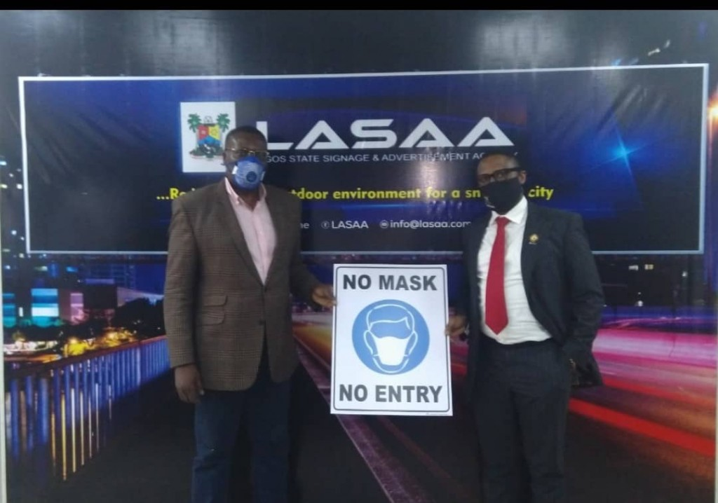 August 17, 2020: The Managing Director of Lagos State Signage and Advertisement Agency, Prince Adedamola Docemo today, during a presentation of safety signs by the Managing Director of Wow Roadshows Limited, Mr. Tokunbo Odebunmi