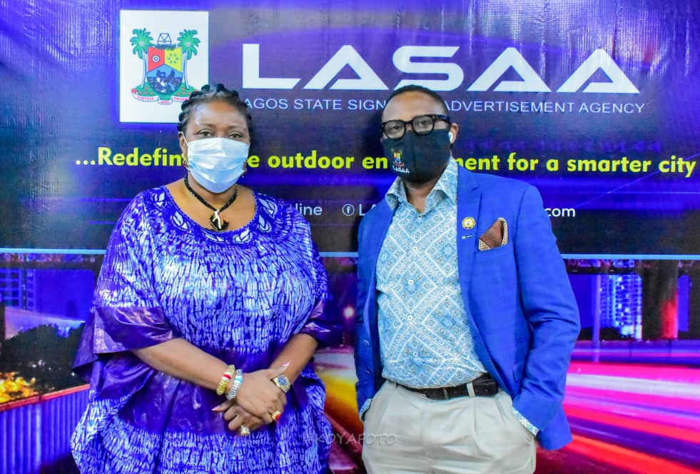 August 20, 2020: The Special Adviser on Housing, Mrs Toke Benson during a courtesy visit paid the Managing Director of Lagos State Signage and Advertisement Agency (LASAA), Prince Adedamola Docemo.