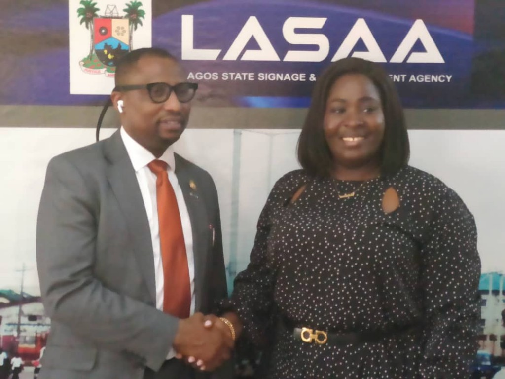 February 11, 2020: The General Manager, Lagos State Parks and Gardens Agency (LASPARK), Mrs. Adetoun Ibilola Popoola during a courtesy visit paid the Managing Director, Lagos State Signage and Advertisement Agency (LASAA), Prince Adedamola Docemo