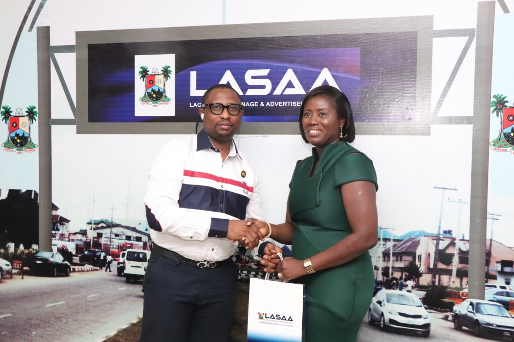 February 13, 2020: Bunmi Adeniba, 1st Vice President of the Advertisers Association of Nigeria (ADVAN) during a courtesy visit paid the Managing Director, Lagos State Signage and Advertisement Agency (LASAA), Prince Adedamola Docemo