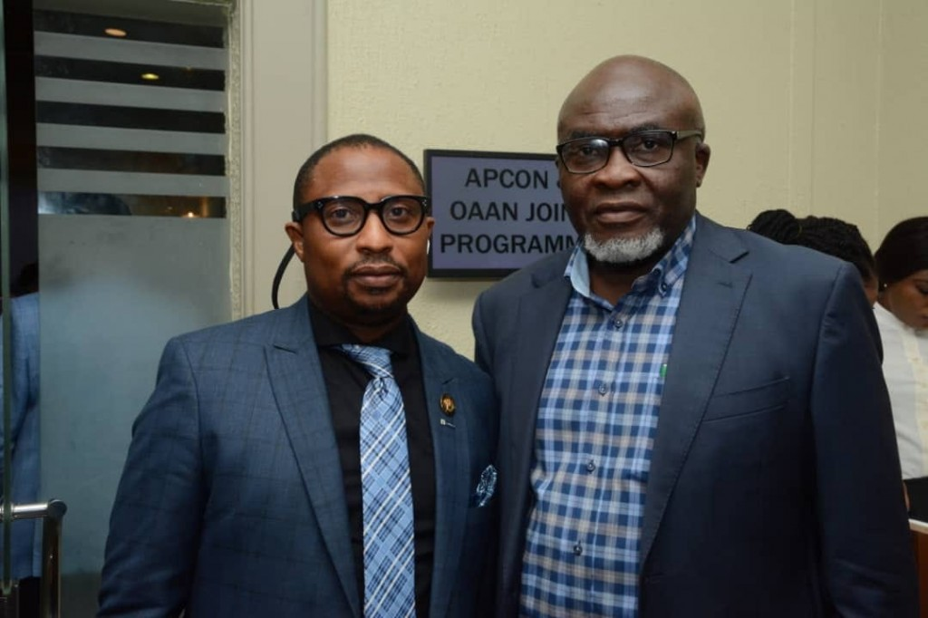 February 28, 2020: The Managing Director of LASAA, Prince Adedamola Docemo with the President of Outdoor Advertising Association of Nigeria (OAAN), Mr. Emmanuel Ajufo rpa, recently at the APCON/OAAN stakeholders meeting on The Standard Operation Procedure for Outdoor Advertising Practice