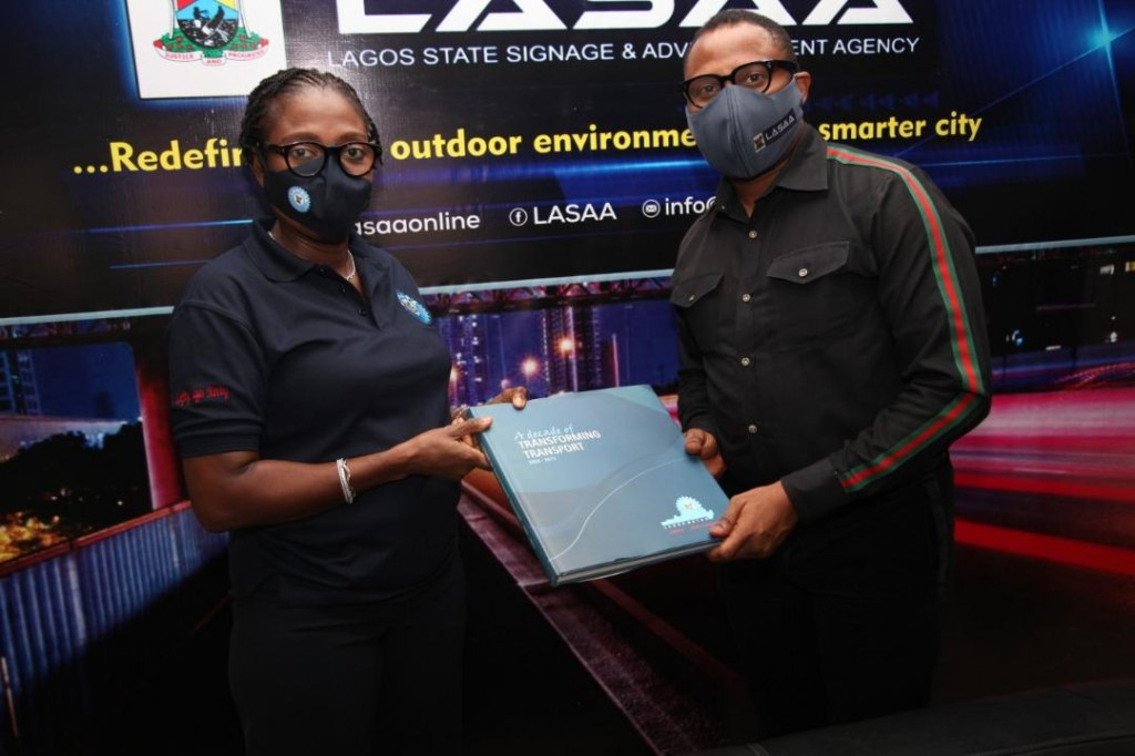 July 8, 2020: The Managing Director, Lagos Metropolitan Area Transport Authority (LAMATA), Engineer Abimbola Akinajo on a courtesy visit to Lagos State Signage and Advertisement Agency's Managing Director, Prince Adedamola Docemo