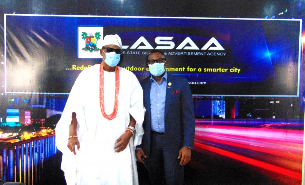 June 11, 2020: The Onilado of Ilado and Inagbe Islands, His Royal Majesty, Oba Mobadenle Oyekan during a courtesy visit paid the Managing Director of Lagos State Signage and Advertisement Agency (LASAA), Prince Adedamola Docemo