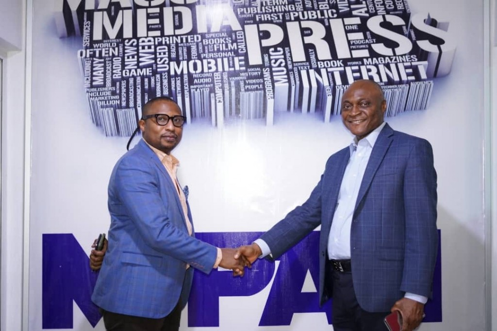 March 5, 2020: L-R: The Managing Director, Lagos State Signage and Advertisement Agency (LASAA), Prince Adedamola Docemo with the President, Media Independent Practitioners Association of Nigeria (MIPAN), Dr. Ken Onyali Ikpe during a meeting