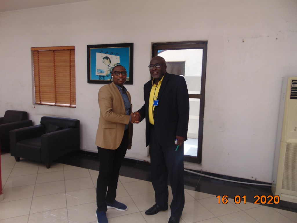 Janaury 16, 2020:  Prince Adedamola Docemo in a warm handshake with Mr. Emmauel Ajufo, National President of the Outdoor Advertising Association  of Nigeria (OAAN) came calling with his executives