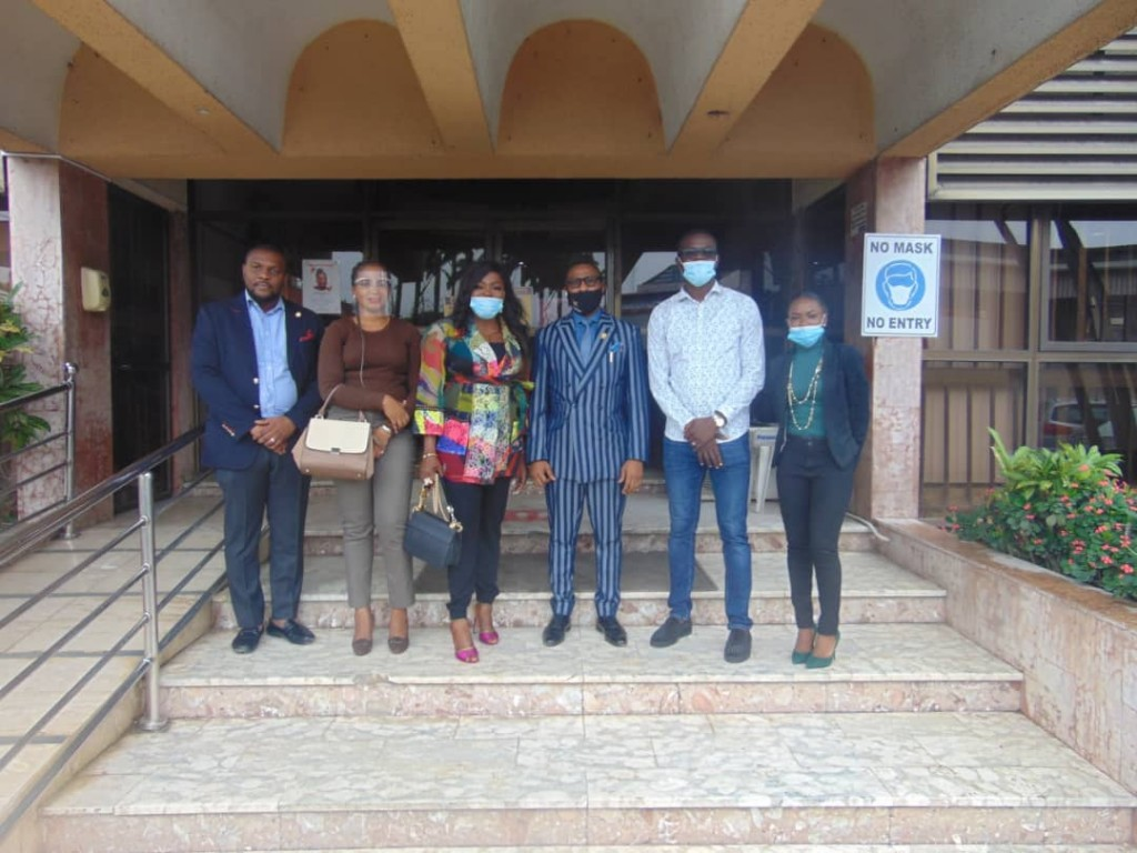 September 16, 2020 - From left: The Special Adviser Operations, Lagos State Signage and Advertisement Agency (LASAA), Mr. Adegbolahan Dixon; Senior Special Assistant to the Governor (Lagos State), Oluwafunmilola Joan Olotu;  popular Nigerian actress and producer, Funke Akindele-Bello; the Managing Director, LASAA, Prince Adedamola Docemo; husband to Funke Akindele,  Abdulrasheed Bello and Personal Assistant to the Managing Director, LASAA, Oluwabusayomi Davids during a courtesy visit they paid the Agency today.