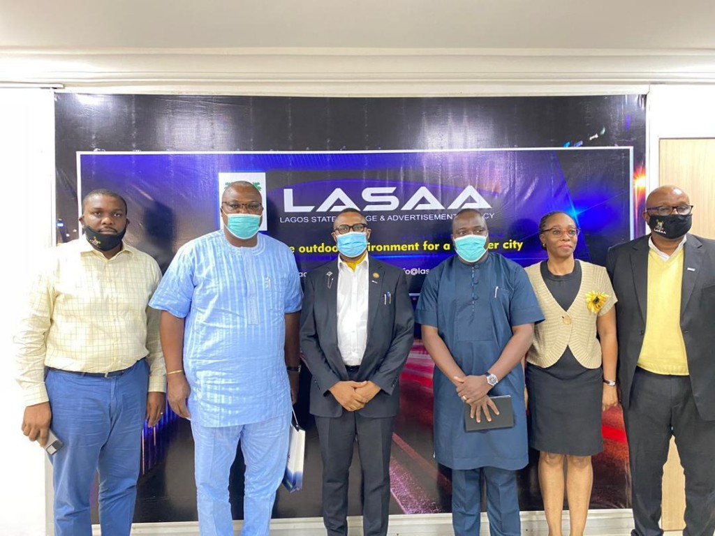 L-R: The Special Adviser Operations, Lagos State Signage and Advertisement Agency (LASAA), Mr. Adegbolahan Dixon; the Managing Director, PRIMERO Transport Services Limited, Mr. Fola Tinubu; the Managing Director, LASAA, Prince Adedamola Docemo; the Executive Director, Value Media Advertising Limited, Mr. Ope Senbanjo; the Head, Client Services and Registration (LASAA), Mrs. Buky Ayodele and the Head, Mobile Advert, Temporary & Small Format (LASAA), Mr. Adebayo Aluko while receiving the visitors at the Agency.