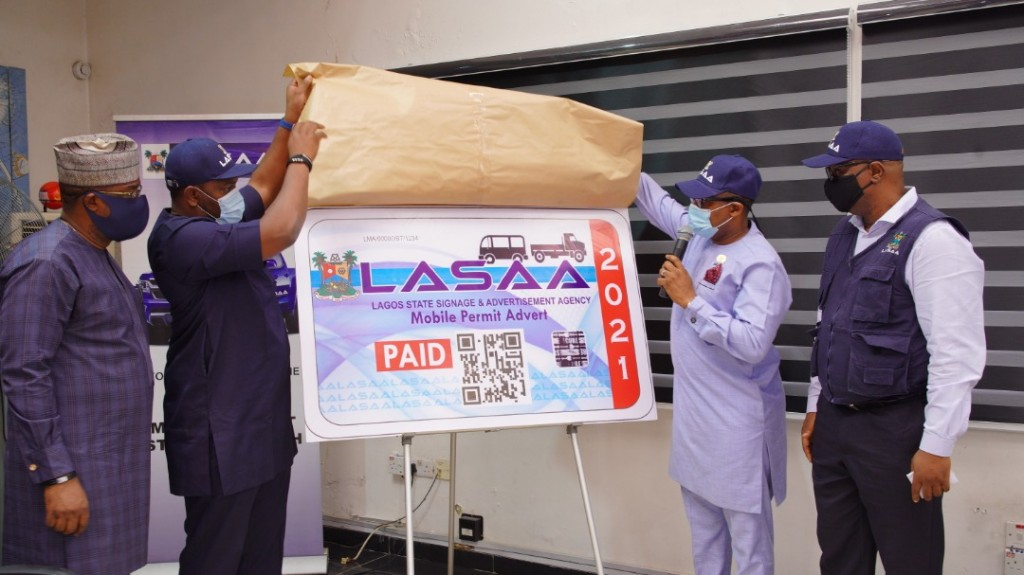 LASAA MD Prince Adedamola Unveils 2021 Mobile Advert Sticker
